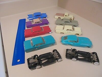 Vintage Lot Of 8 Ideal Motorific Slot Cars & 2 Motorless Chassis, Good+Condition