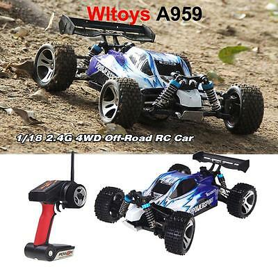 Wltoys A959 1/18 1:18 Scale 2.4G 4WD RTR Off-Road Buggy RC Car Blue UK Stock