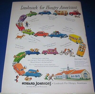 1950 all roads lead to Howard Johnson's Ad~LANDMARK for Hungry Americans