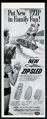 1967 Captain Zip Sled Slipsled kids surfing two board vintage print ad