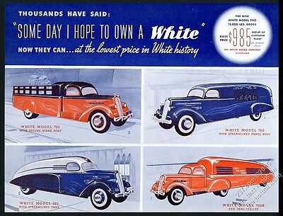1937 White Motors streamlined model 700 tank truck semi panel stakebed print ad