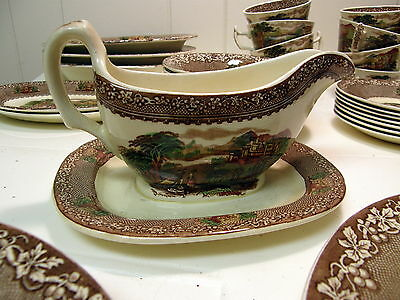ROYAL STAFFORDSHIRE China Brown JENNY LIND  England ~ Gravy Boat