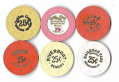 Six Different 25-Cent Chips - T12-3