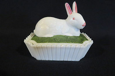 Westmoreland Glass Rabbit On Picket Fence Candy Trinket  Box
