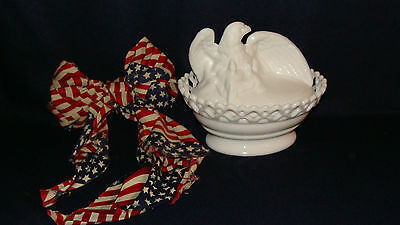 Westmoreland Milk Glass Eagle W / Eaglets  Coverered   Candy Dish