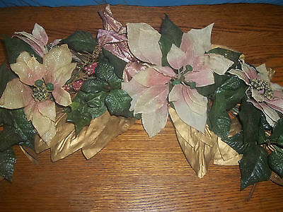 Home Interior Christmas Blush Pink Poinsettia Swag and Garland