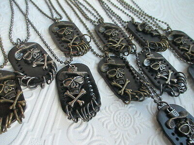 Necklaces lot of 12 SKULL Pendants WHOLESALE NEW NWT Halloween Biker Punk Goth