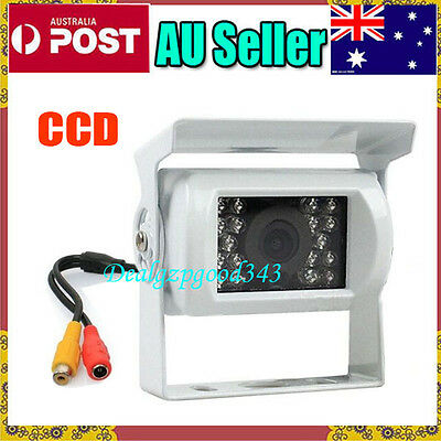 18 LED IR CCD Car rear view Reversing Camera Waterproof + 10m Video Cable White