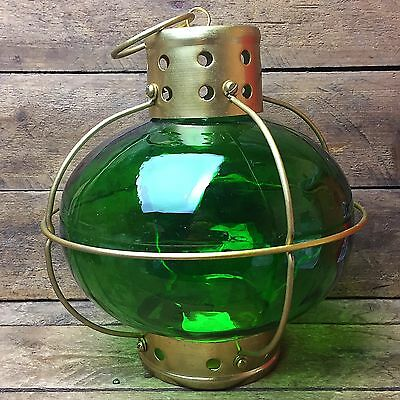 Green Glass and Metal Lantern Use with Tealights