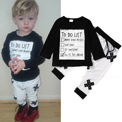 Toddler Kids Boys Baby Autumn Outfits Clothes Long Sleeve T-shirt Top Pants 2Pcs