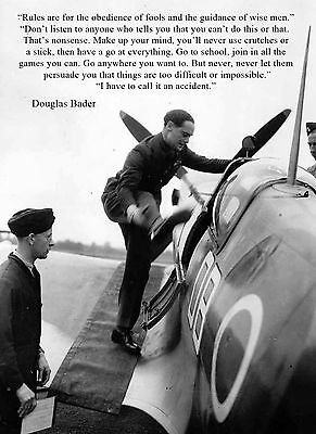 """WW2 RAF  DOUGLAS BADER FAMOUS QUOTE    8"""" x 6"""" METAL PLAQUE XC-9XDR"""