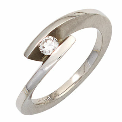 Ladies Ring with Diamond 0,15ct 950 Platinum matte Finger Ring