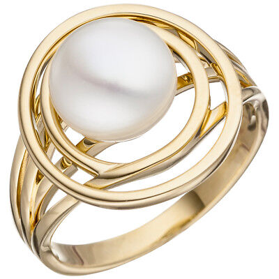 Wide Ladies Ring with Freshwater Pearls white, 585 Gold Yellow Gold Gold Ring