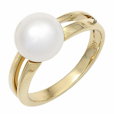Ladies Ring with pearl Cultivated Freshwater Pearl, 585 Gold Yellow