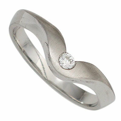 Ladies Ring with Diamond 950 Platinum matte Finger Ring wavy
