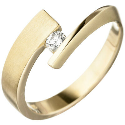 Women's Ring with Diamond, 585 Gold Yellow Gold matte Gold Ring