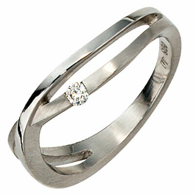 Ladies Ring with Diamond 0,05ct 950 Platinum Finger Ring part matte