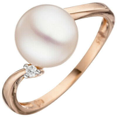 Ladies Ring with Freshwater Pearls white & Diamond, 585 Gold Rose Gold