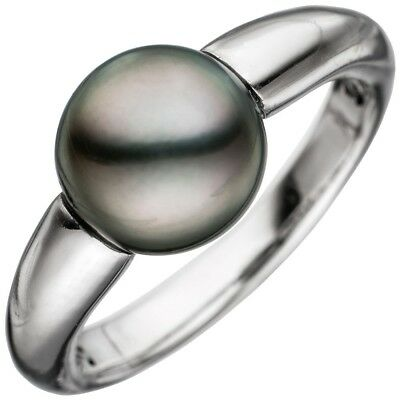 Ladies Ring with Tahiti Pearl grey-violet, 585 Gold White Gold Pearl Ring