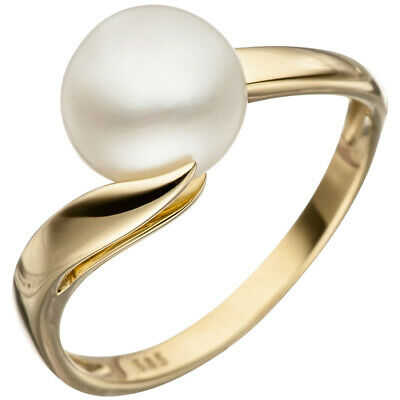 Ladies Ring with pearl Cultivated Freshwater white, 585 Gold Yellow