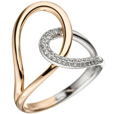 Ladies Ring with 36 Diamonds Brilliants, 585 gold Rose gold White gold bicolour