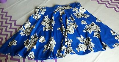 Girls Skater Skirt from New Look Age 10-11 years Royal Blue Floral