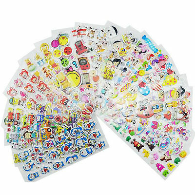 10 Sheets Cute Cartoon Removable Sticker Children 3D Picture Wall Decal Decor