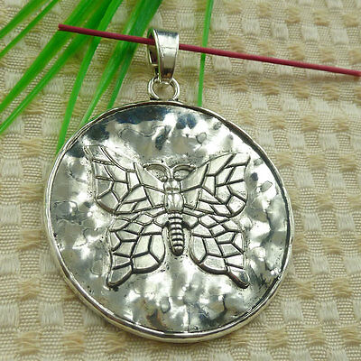 79x61mm Free Ship 4pcs tibetan silver round butterfly charms pendant S4684