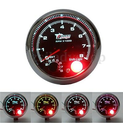 "12V Universal Car vehicle 3.75"" RPM Tachometer Tacho Gauge Shift Light 0-8000RPM"