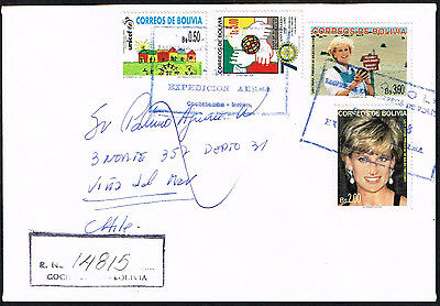 192 Bolivia To Chile Regitered Cover 1998 Lady Di Stamps Cochabamba - Vina