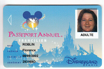 Disney Paris Pass Carte / Card .. Passeport Annuel Idf + Nom Speos 2001/02 00/05