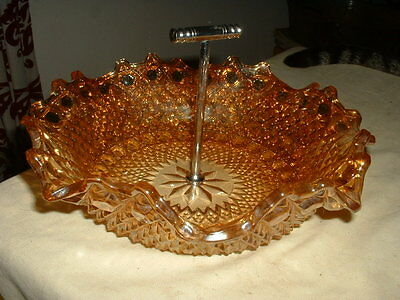 Lovely Vintage Carnival Glass Bowl With A Chrome Handle