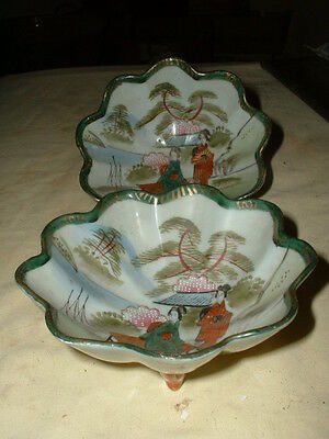 Lovely Pair Of Vintage Hand Painted Japanese Bowls,