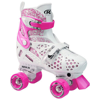 Roller Derby Youth Girl's Trac Star Adjustable Roller Skates - 1971 (White/Pink