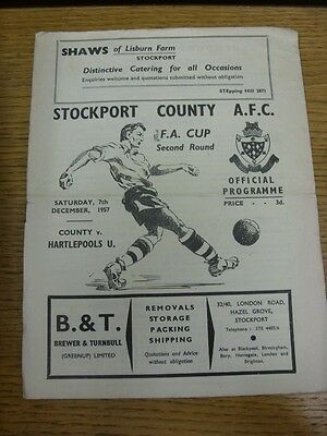 07/12/1957 Stockport County v Hartlepool United [FA Cup] (Creased, Folded, Worn,