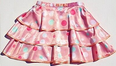 Pink polka dot Party Skirt House of Fraser silky layered 2-3 years vgc