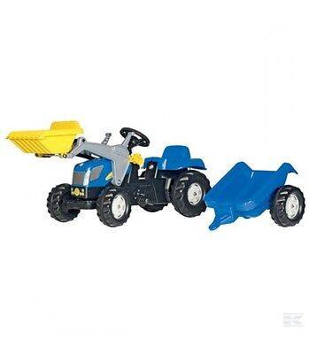 RollyKid New Holland T7040 Ride on pedal Tractor with Front Loader and Trailer