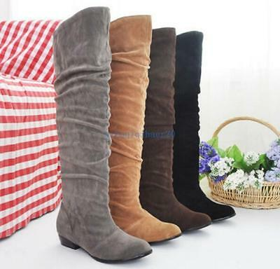 Ladies Stretch Fold Comfort Low Heel Knee High Boots Shoes All Size Black Uk7.5