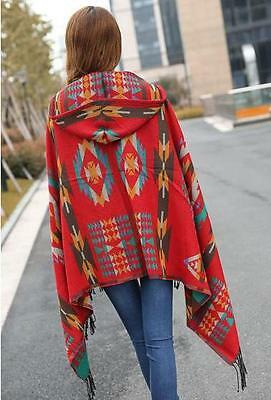 New Red Native American Indian Design Hooded Poncho Wrap Shawl Cape