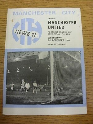 03/12/1969 Football League Cup Semi-Final: Manchester City v Manchester United