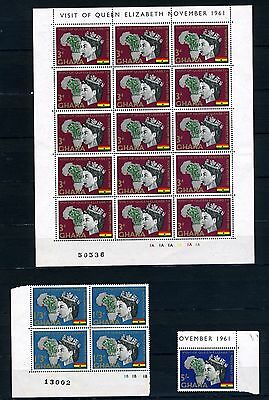 Ghana 1961 Queens visit complete sheet 3d plus 1/3d block and 5/- MH