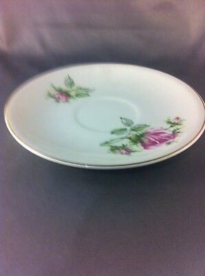 PADEN CITY Pottery 1950  pink Roses Leaves - Coffee saucer