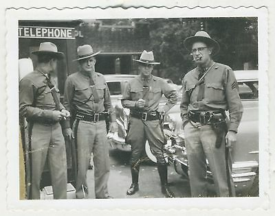 1950s Original Snapshot Photo New York State Troopers ID'd Grizzly & Gnarly