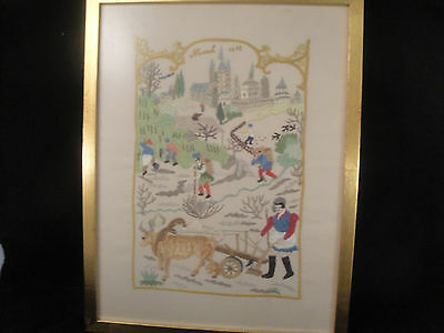 Hand Embroidered Framed March12 Country Scene