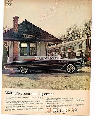 1961 BUICK  Electra Black Convertible New York Central Thornwood Station Vtg Ad