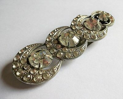 Vintage  Art Deco Silver Tone Clear Crystal Dress Clip