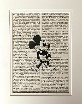 Mickey Mouse Dictionary Book Page Print - Recycled Vintage Page