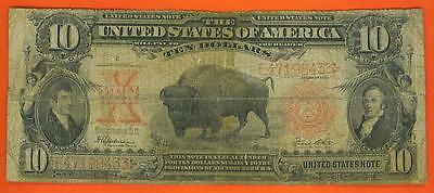 1901 $10 Antique 'bison' Legal Tender U.s. Note!!