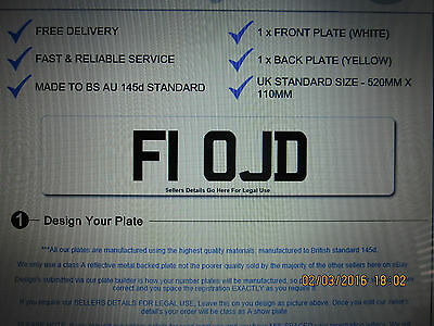 F1 Ojd Private Personal Chereshed Number Plate Dvla Registration