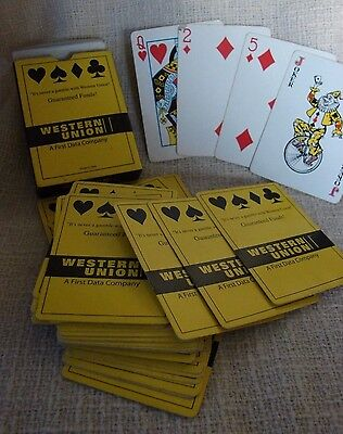 Western Union First Data Co Advertising Playing Cards in Box, Missing One Card